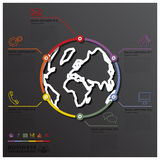 Earth And World Line Circle Shape Business Infographic Stock Images