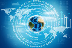 Earth with world map and business words Stock Image