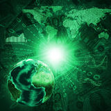 Earth, world map and graphs on money background Stock Image