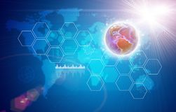 Earth, world map, light and hexagons Royalty Free Stock Photo