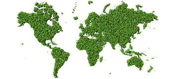 Earth, world map made from green leaves isolated on black background. 3d render. Stock Photo