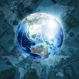 Earth, world map on money background. Earth, world map consisting digits on money background. Business concept. Elements of this image are furnished by NASA Stock Image