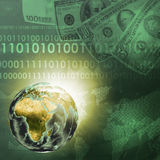 Earth, world map on money background. Earth, world map consisting digits on money background. Business concept. Elements of this image are furnished by NASA Royalty Free Stock Photo