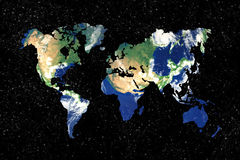 Earth world map. Starry background Royalty Free Stock Photos