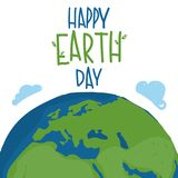 Earth world planet with hand drawn lettering. `Happy Earth Day`. Vector illustration Royalty Free Stock Photography