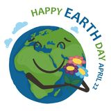 Earth world planet is holding a bouquet of flowers and smiling. On a white background. Earth day banner. Vector illustration Stock Photography