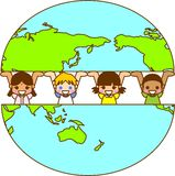 Earth and the World's Children. This is an illustration of the earth and the World's Children Royalty Free Stock Photos