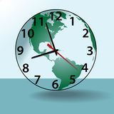Earth world travel time clock globe Stock Photos