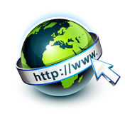 Earth and world wide web. Illustration of the earth with a banner saying http://www and an arrow pointer