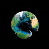 Earth ocean depths. Worlds continents isolated - centered on the Atlantic Ocean Stock Images
