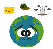 Earth worried about pollution and deforestation concept illustration Royalty Free Stock Image