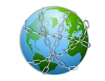 Earth Wrapped in Chains. An illustration featuring the planet Earth wrapped in chains vector illustration