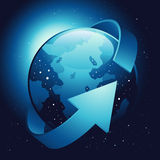 Earth with Wrapping Arrow Royalty Free Stock Photography