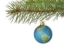 Earth xmas ball royalty free stock images