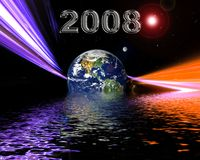 Earth Year Date. New Year 2008 modern space background vector illustration