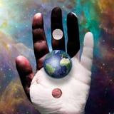 Earth Yin Yang. Planet Earth Yin Yang Palm Stock Photography