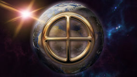 Earth zodiac horoscope symbol and planet. 3D rendering. 3D rendering image of a brilliant gold Earth zodiac horoscope symbol. An astrology sign on the foreground Royalty Free Stock Images
