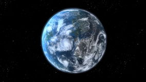Earth zoom. Beautiful 3d animation royalty free illustration