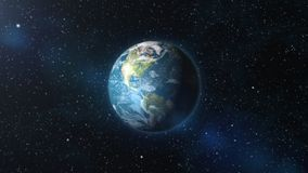 Earth zoom in from outer space. Until white clouds fill the screen. Elements of this image furnished by NASA