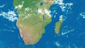 Earth Zoom to South Africa. An Earth zoom satellite view to South Africa and surrounding countries stock footage