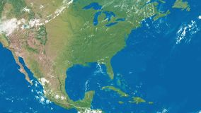 Earth Zoom to United States of America. An Earth zoom satellite view to United States of America and surrounding countries stock footage
