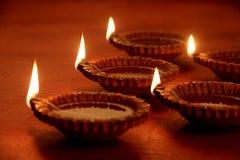 Earthen Clay Handmade Diwali Oil Lamps royalty free stock image