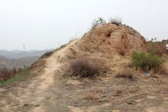 Earthen Great Wall ruins Royalty Free Stock Image