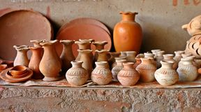 Earthen hand made pots in local market of India Stock Photography