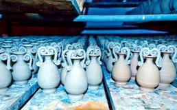 Earthen jars. Clay jars in the studio Stock Photo
