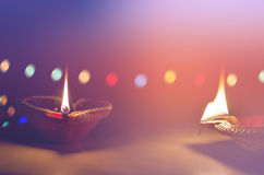 Earthen Lamps in dark night. Earthen Lamps in dark with bokeh light in the background royalty free stock image