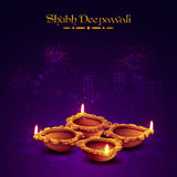 Earthen lit lamp for Diwali Celebration. Traditional Illuminated Oil Earthen Lamps on sparkle fireworks night city background, Vector illustration for Indian Royalty Free Stock Images