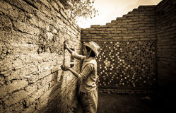 Earthen plastering Royalty Free Stock Image