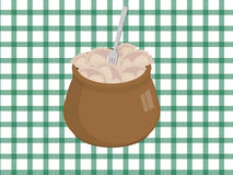 Earthen pot. With dumplings and the fork vector illustration