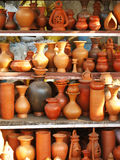 Earthen Pots. A group of different shaped earthen pots, in various shades of orange, made out of clay Stock Photography