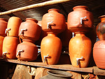 Earthen Pots. A few earthen pots for storing water made of clay Stock Photography