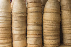Earthen steamer by bamboo Stock Image