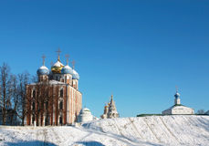 Earthen  wall and cathedrals of the Ryazan Kremlin Royalty Free Stock Photo