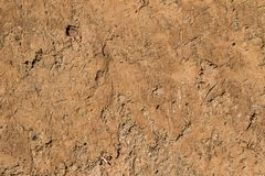 Earthen Wall. Close up of an earthen wall made of compacted mud and straw Stock Photo