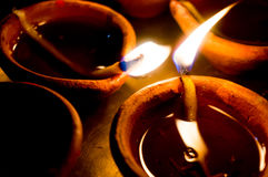 Earthen ware pots with cotton and oil to light Royalty Free Stock Images