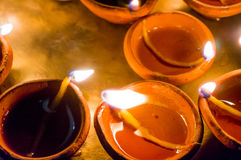 Earthen ware pots with cotton and oil to light Royalty Free Stock Photography