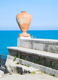 Earthenware amphora on the sea. Stock Image