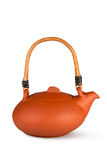 Earthenware Asian tradition style teapot. Placed on white background Stock Images