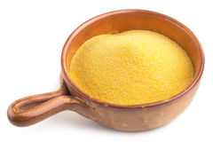 Earthenware bowl with cornmeal Stock Photography