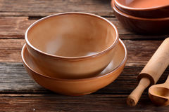 Earthenware bowls empty Royalty Free Stock Image