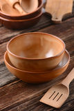 Earthenware bowls empty Royalty Free Stock Photography