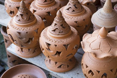 Earthenware brown handmade clay pots Royalty Free Stock Image