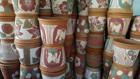 Earthenware. Garden decor park wallpaper Royalty Free Stock Image
