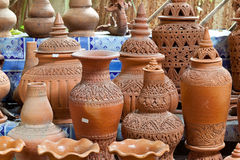 Earthenware handmade old clay pots Royalty Free Stock Photography