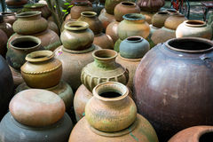Earthenware handmade old clay pots in Thailand Stock Image