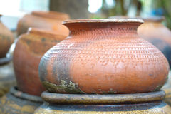 Earthenware handmade old clay pots. In Thailand Royalty Free Stock Photos